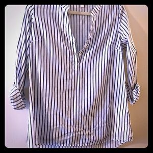Charming Charlie black and white stripe top